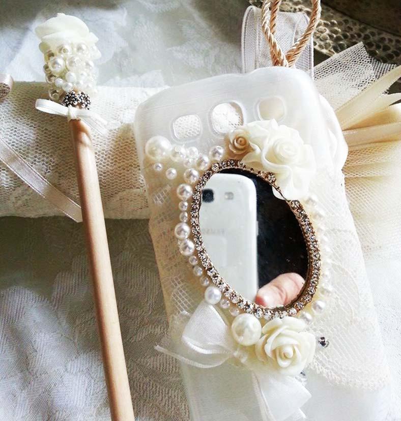 cover cellulare sposa con pizzo e specchietto