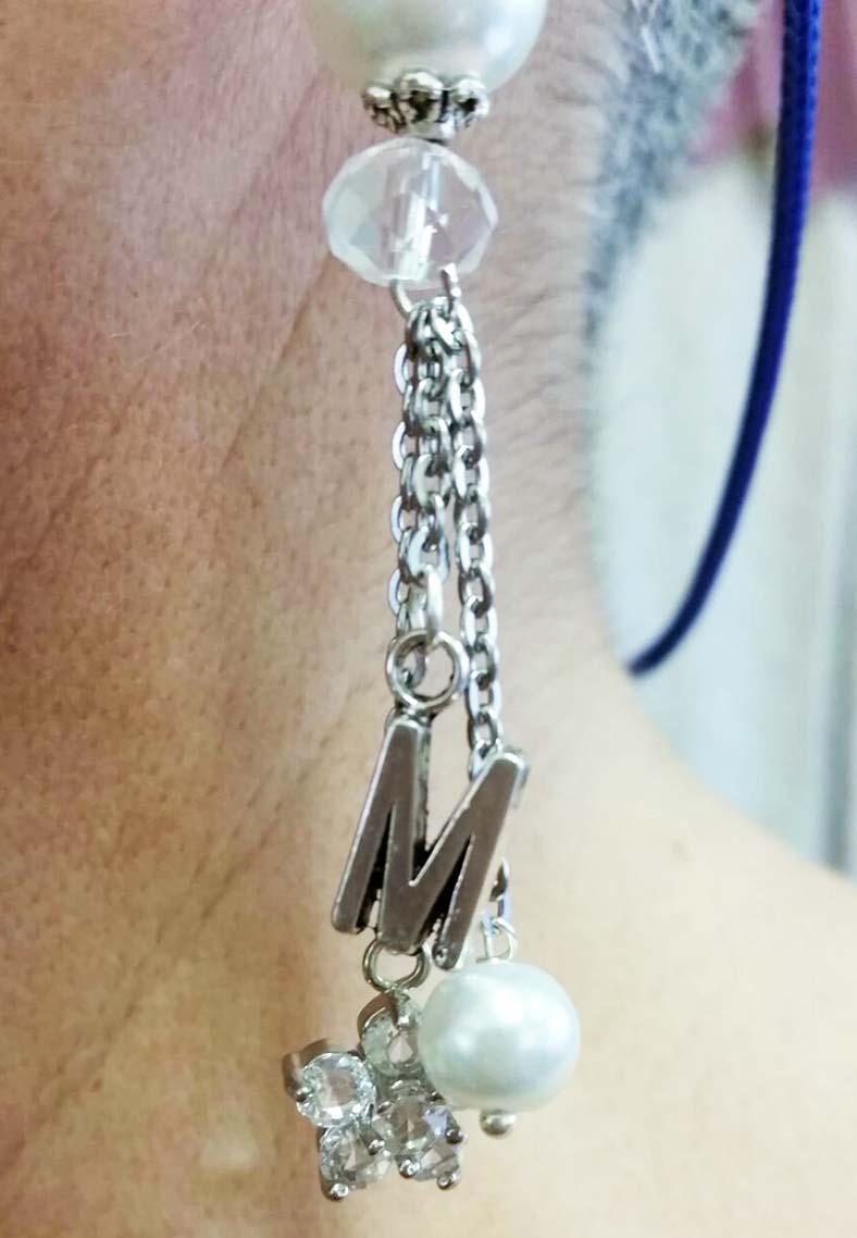 orecchini sposa con iniziali e perle