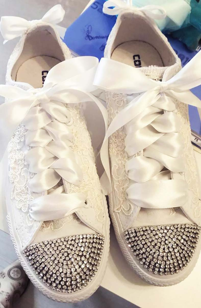 scarpe sposa converse pizzo