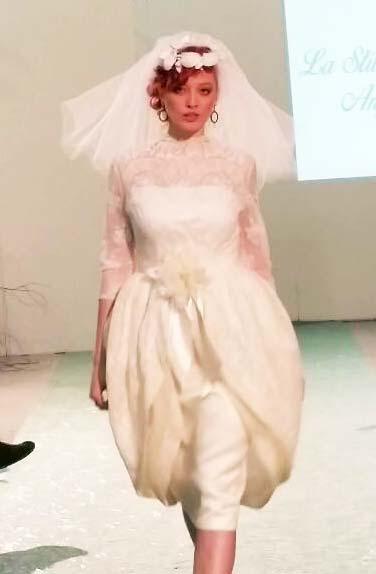 vestito sposa vintage velo corto