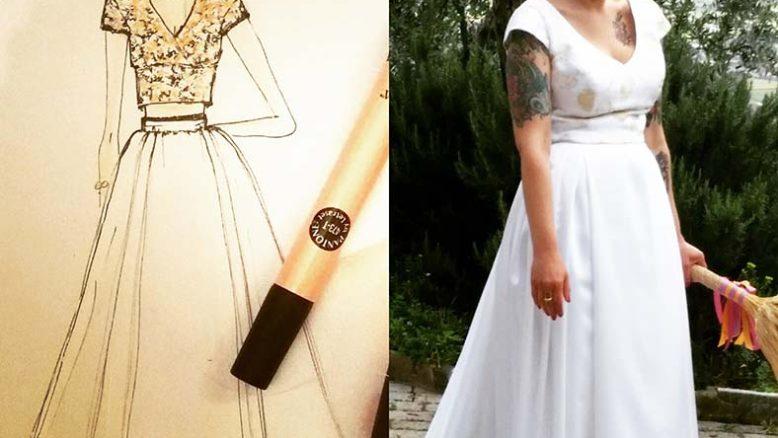 abito da sposa due pezzi top crop con bozzetto