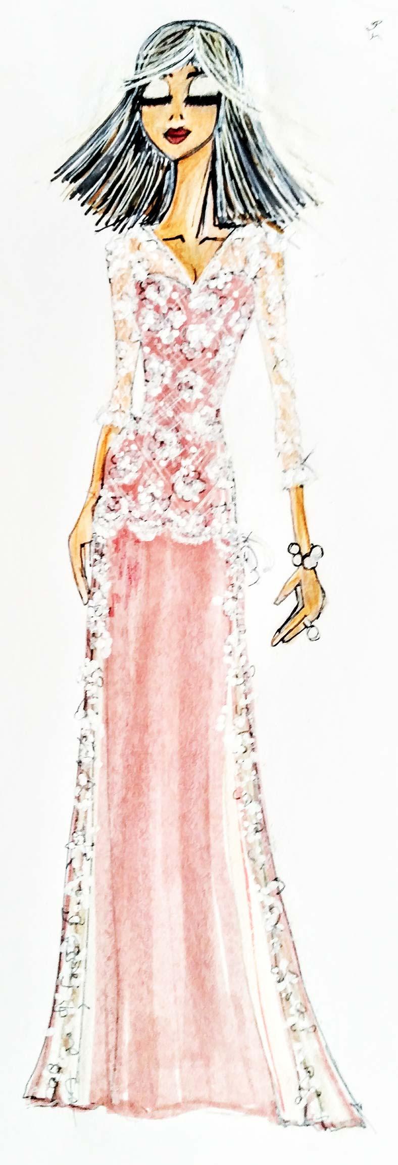 disegno abito da sposa trasformabile