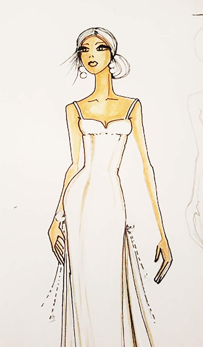 abito sposa poco seno disegno