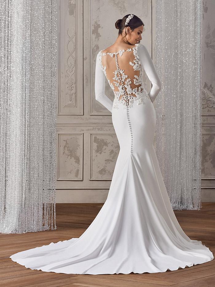 abiti da sposa maniche lunghe schiena nuda