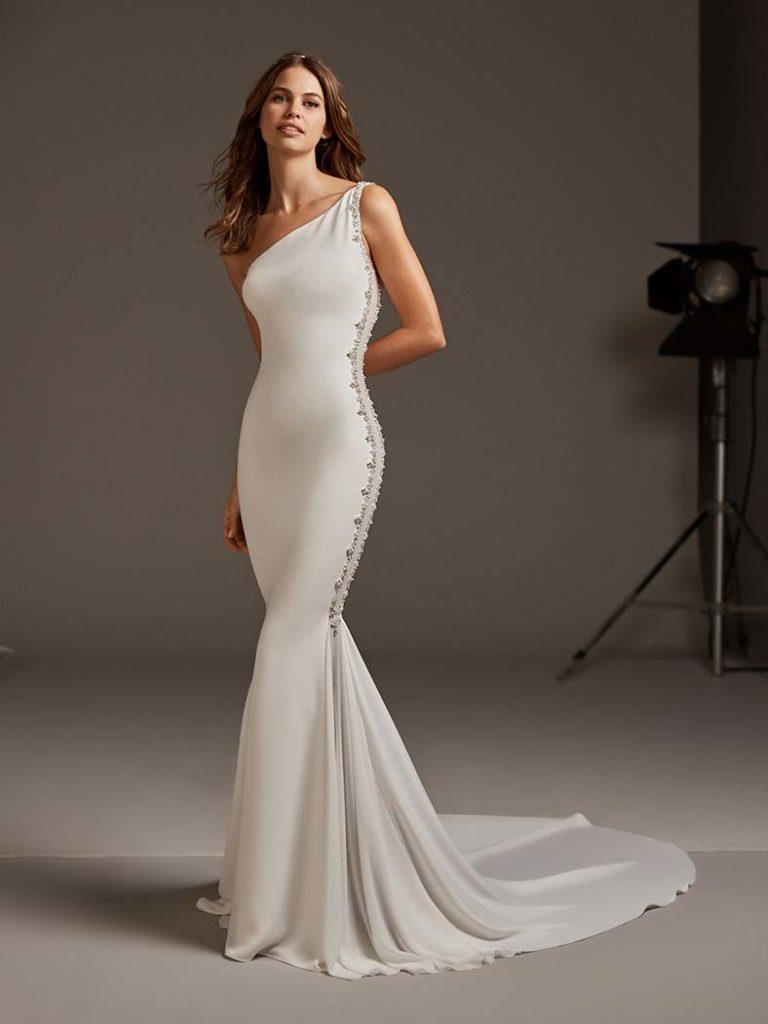 abito da sposa monospalla sirena