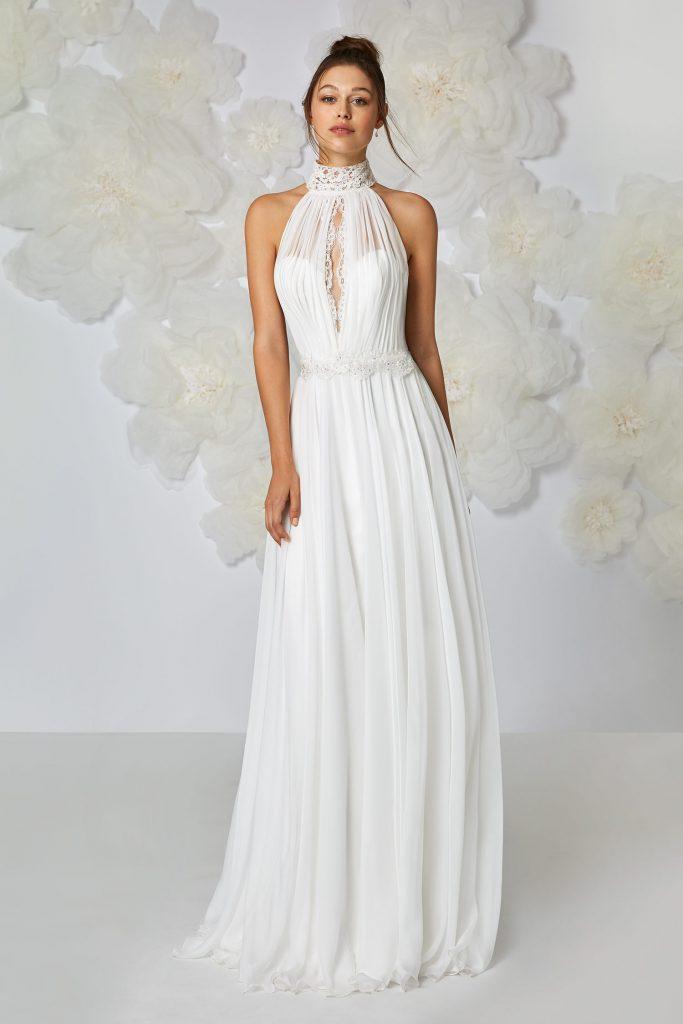 abito sposa collo alto semplice