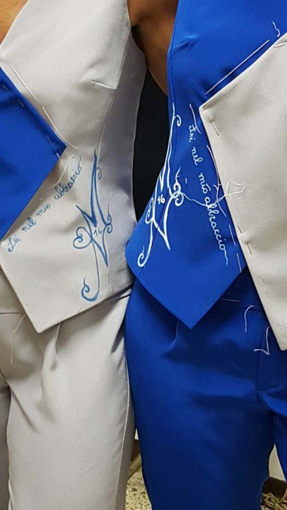 dettaglio vestiti da sposa coordinati