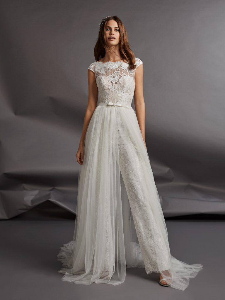 vestiti da sposa con pantaloni in pizzo
