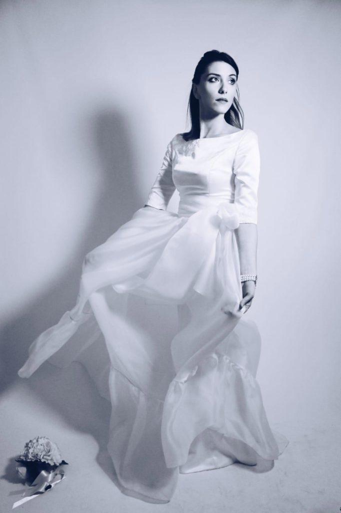 abito da sposa con gonna in organza