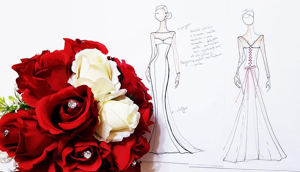 abito sposa a sirena con scarpe rosse